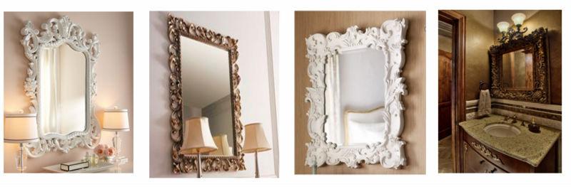 decorative antique gold leaf frame wall mirror